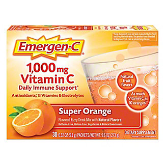 Emergen-C 1000 mg Vitamin C Super Orange Drink Mix, 30 ct
