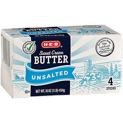 H-E-B Select Ingredients Sweet Cream Unsalted Butter, 16 oz
