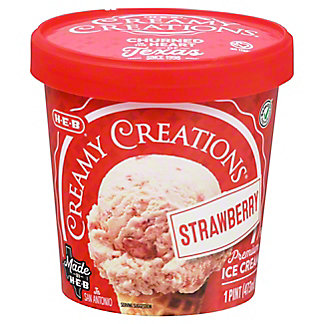 H E B Select Ingredients Creamy Creations Strawberry Ice Cream 1 PT