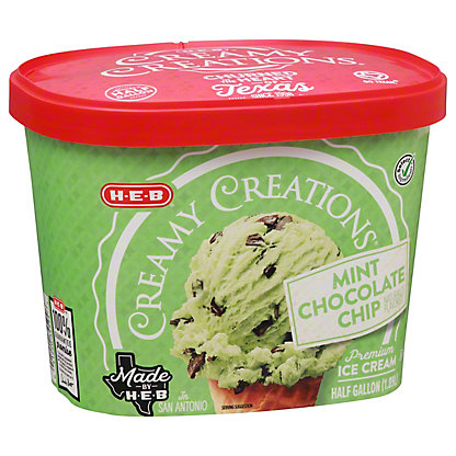 H-E-B Select Ingredients Creamy Creations Mint Chocolate Chip Ice Cream, 1/2 gal