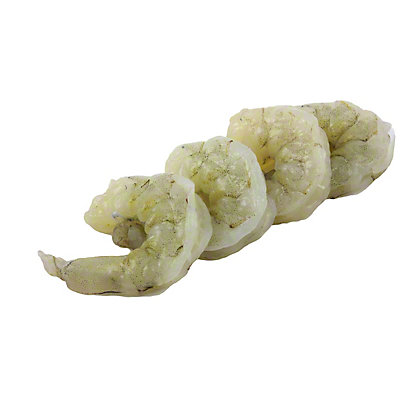 Previously Frozen Raw White Shrimp Peeled And Deveined Tail-Off, Farm Raised, 31/40 ct