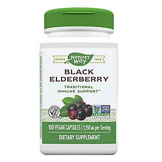 Nature's Way Premium Herbal Elderberry Berries & Flowers 575 Mg Capsules, 100 CT
