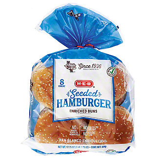 H-E-B Bake Shop Seeded Enriched Hamburger Buns,8 CT