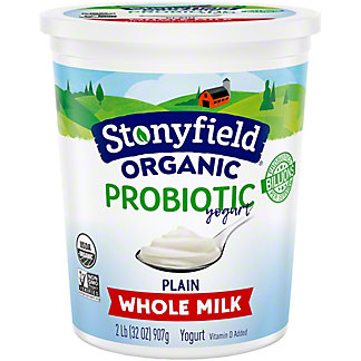 Stonyfield Organic Smooth & Creamy Whole Milk Plain Yogurt,2 lb