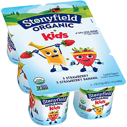 Stonyfield Organic YoKids Strawberry/ Strawberry Banana Yogurt,6 ct