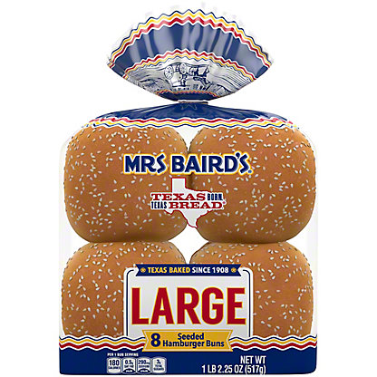Mrs Baird's Large Enriched Buns Topped with Sesame Seeds,8 CT