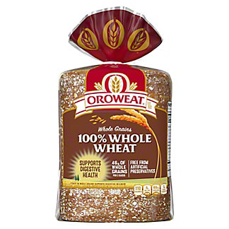 Oroweat Whole Grains 100% Whole Wheat Bread, 24 oz