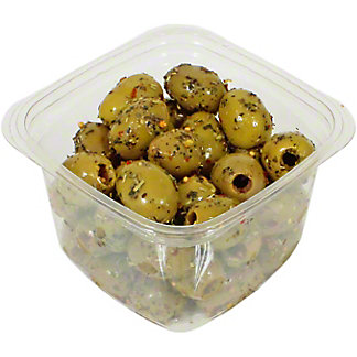 Mt. Athos Pitted Green Olives with Sicilian Herbs, Sold by the pound