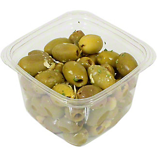 Mt. Athos Pitted Green Olives And Minced Garlic, Sold by the pound