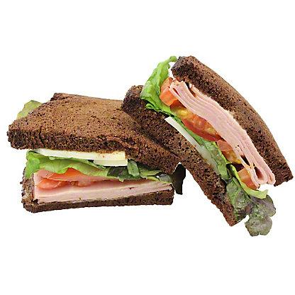 Central Market Ham & Swiss Sandwich on Russian Rye Bread, EACH