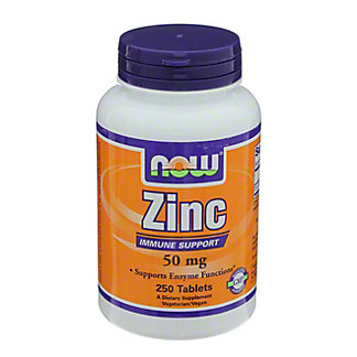 NOW Zinc 50 mg Tablets, 250 ct