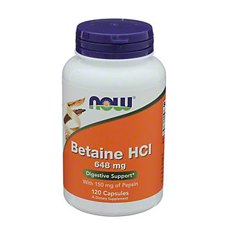 NOW Betaine HCI 648 mg Capsules, 120 ct