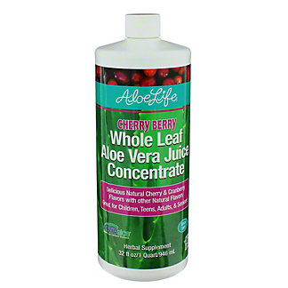 Aloe Life Cherry Berry Whole Leaf Aloe Juice Concnetrate, 32 oz