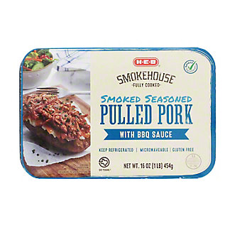 H-E-B Fully Cooked Seasoned Pulled Pork With BBQ Sauce,16 OZ