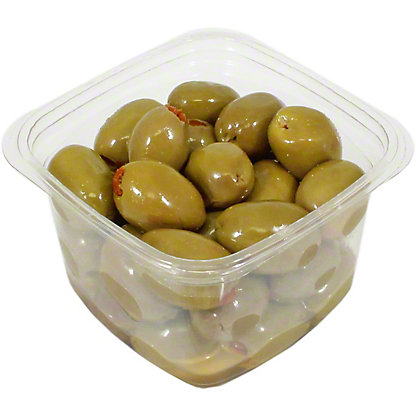 Divina Mt. Athos Green Olives Stuffed With Sun Dried Tomatoes In Oil, Sold by the pound