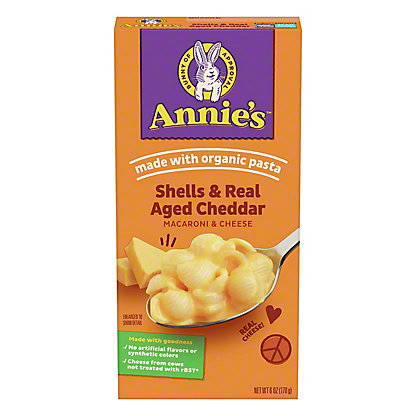 Annie's Homegrown Shells and Real Aged Cheddar Macaroni and Cheese, 6 oz
