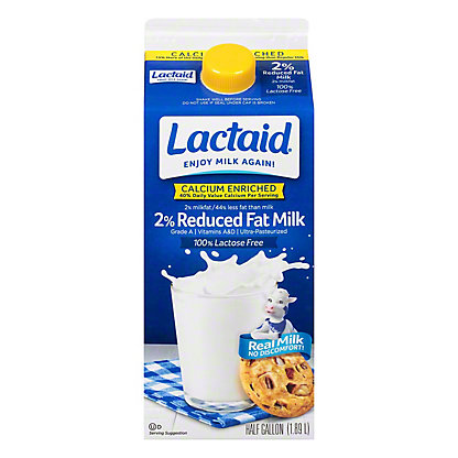 Lactaid Reduced Fat 2% Milkfat 100% Lactose Free Milk, 1/2 gal
