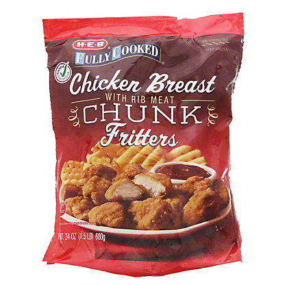 H-E-B Fully Cooked Breaded Chicken Breast Chunks, 24 oz