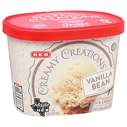 H-E-B Select Ingredients Creamy Creations Vanilla Bean Ice Cream, 1/2 gal