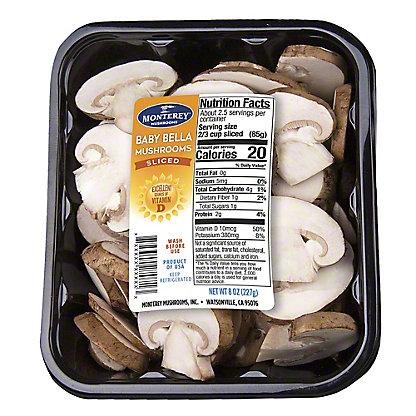 Fresh Sliced Baby Bella Mushrooms, 8 oz