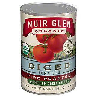 Muir Glen Organic Fire Roasted Diced Tomatoes with Medium Green Chilies,14.5OZ