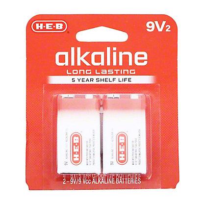 H-E-B Pro+ Alkaline 9V Batteries,2 PK