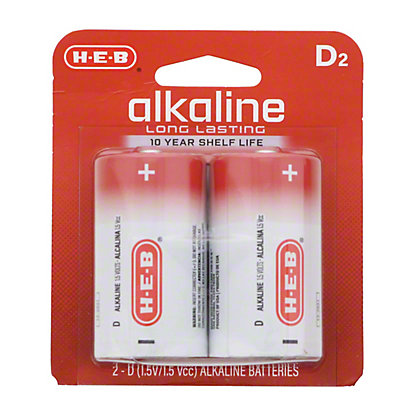 H-E-B Pro+ Alkaline D Batteries, 2 pk