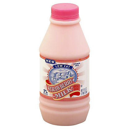 H-E-B Low Fat Strawberry 1% Milkfat Milk,1 PT