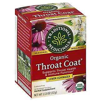 Traditional Medicinals Organic Throat Coat Lemon Echinacea Herbal Tea Bags, 16 ea