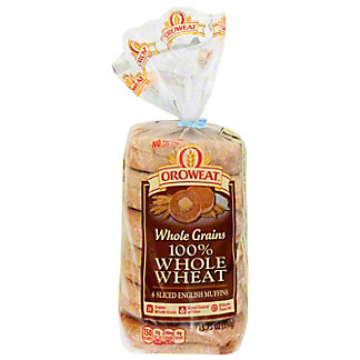Oroweat Whole Grain 100% Whole Wheat English Muffins,6 CT
