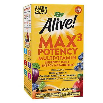 Nature's Way Alive! Multi-Vitamin No Iron Added Tablets, 90 ct