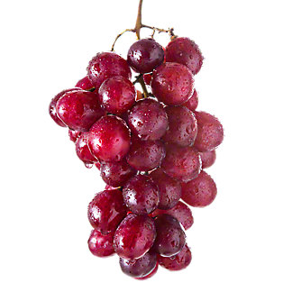 Fresh Leaf and Stem Red Seedless Grapes