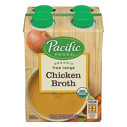 Pacific Foods Organic Free Range Chicken Broth,4 - 8oz Cartons