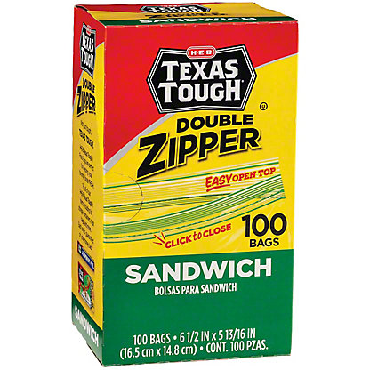 H-E-B Texas Tough Double Zipper Sandwich Bags,100 ct