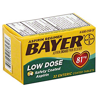 Bayer Aspirin Pain Reliever/Fever Reducer Low Dose 81 mg Enteric Safety Coated Tablets,32 CT
