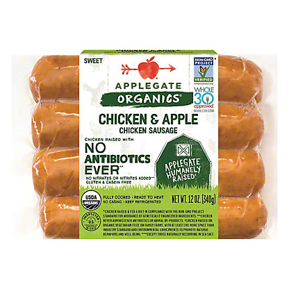 Applegate Farms Organic Mild Chicken and Apple Sausage, 12 oz