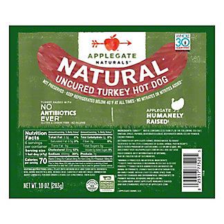 Applegate Naturals Applegate Farms Hot Dogs Turkey,8 ct