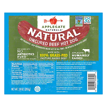 Applegate Natural Farms Hot Dogs Beef,8 ct