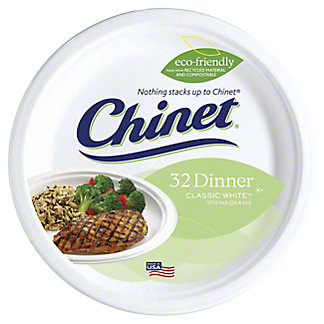 Chinet Classic White 10-3/8 Inch Polypropylene Dinner Plates,32 CT