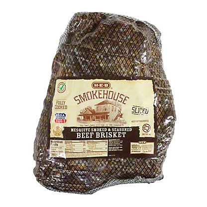 H-E-B Fully Cooked Sliced Mesquite Smoked Brisket Club Pack,sold by the pound