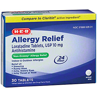 H-E-B Non-Drowsy Allergy Relief Tablets, 30 ct