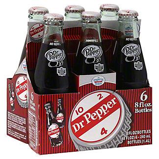 Dr Pepper Soda Made with Sugar 6 PK Glass Bottles,8 OZ
