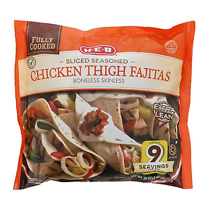 H-E-B Fully Cooked Sliced Seasoned Chicken Thigh Fajitas Texas Size,26 OZ