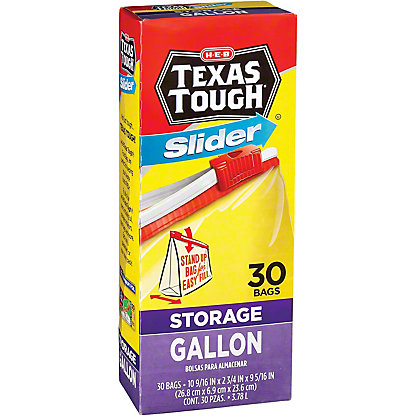 H-E-B Texas Tough Slider Gallon Size Storage Bags,30.00 ea