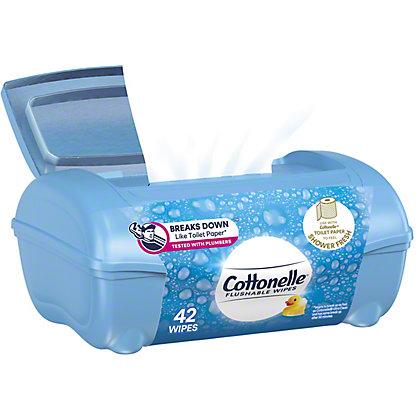 Cottonelle FreshCare Flushable Cleansing Cloths Refillable Tub Assorted Colors, 42 ct