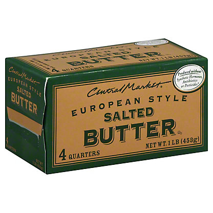 Central Market European Style Salted Butter, 4 ct