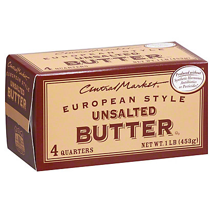 Central Market European Style Unsalted Butter, 4 ct