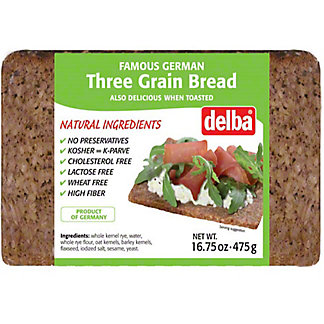 Delba Three Grain Bread, 16.75 oz