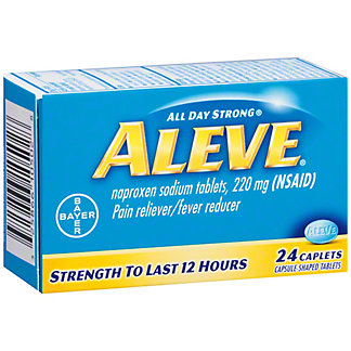 Aleve Pain Reliever/Fever Reducer Naproxen 220 mg Caplets, 24 ct