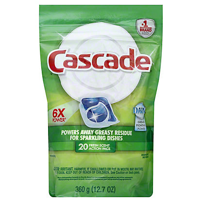 Cascade Fresh Scent ActionPacs Dishwasher Detergent, 20 ct